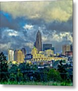 Dramatic Sky With Clouds Over Charlotte Skyline Metal Print