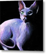 Dramatic Sphynx Cat Print Painting Metal Print