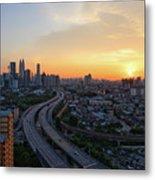 Dramatic Sunset Over Kuala Lumpur City Skyline Metal Print