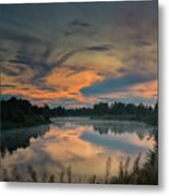 Dramatic Sunset Over The Misty River Metal Print
