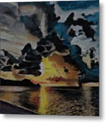Dramatic Sunset Seascape Metal Print