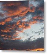 Dramatic Sunset Sky With Orange Cloud Colors Metal Print