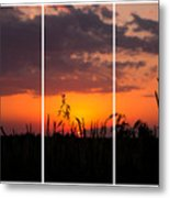 Dramatic Sunset Triptych Metal Print