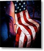 Draped American Flag Metal Print