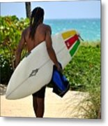 Dreadlocks Surfer Dude Metal Print