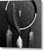 Dream Catcher Black White Metal Print