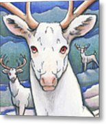 Dream Of The White Stag Metal Print by Amy S Turner