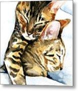 Dreamland - Bengal And Savannah Cat Painting Metal Print