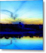 Dreamscape Blue Water Sunset  Metal Print by Nada Frazier
