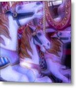 Dreamy Carrousel  Horses Metal Print