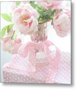 Dreamy Shabby Chic Cottage Pink Peonies In Vase - Romantic Pink Peonies Floral Bouquet Metal Print