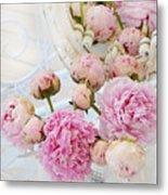 Dreamy Shabby Chic Romantic Peonies - Garden Peonies White Mason Jars Metal Print