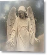 Dreamy Surreal Angel Art Fog Cemetery Metal Print