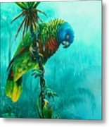 Drenched - St. Lucia Parrot Metal Print