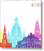Dresden Skyline Pop Metal Print