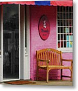 Dress Shop With Orange And Blue Awning Metal Print