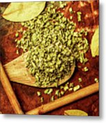 Dried Chives In Wooden Spoon Metal Print
