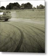 Drifting Tracks Japanese Car Drifting Round A Corner With Tyres Smoking Metal Print