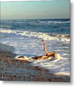 Driftwood In The Surf Metal Print