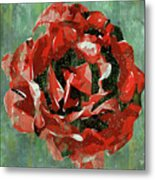 Dripping Poster Rose On Green Metal Print