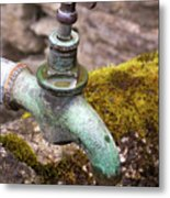 Dripping Tap On A Stone Trough Metal Print