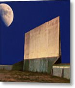 Drive-in Moon Metal Print