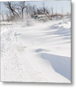 Driving In Drifting Snow Metal Print