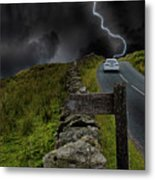Driving Into The Storm Metal Print