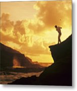 Driving Off A Cliff Metal Print