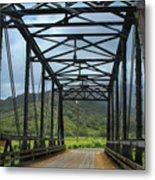 Driving Over Hanalei Bridge Metal Print
