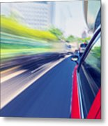Driving Through The City By Taxi Metal Print