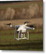 Drone Fly Above The Field Metal Print