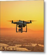 Drone Flying On Sunset Metal Print