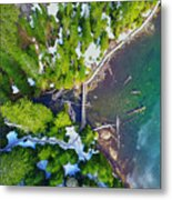 Drone Shot Of Lake 22 Bridge Metal Print