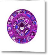 Drop Mandala Purple And Blue Metal Print