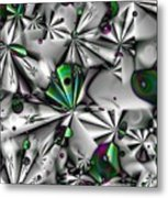Droplets And Shuriken Green Metal Print
