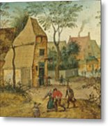 Drunkard Being Taken Home From The Tavern By His Wife Metal Print