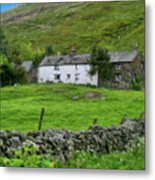 Dry Stone Wall And White Cottage - P4a16022 Metal Print