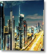 Dubai Downtown Architecture And A Highway.  Metal Print