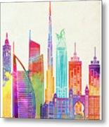 Dubai Landmarks Watercolor Poster Metal Print