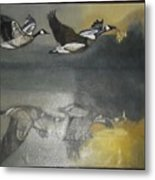 Duck Are Flying On The Sea Side Metal Print