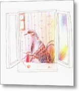 Duck In A Window Metal Print