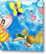 Duck Meets Fairy Ballet Class Metal Print