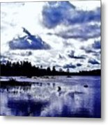 Duck Soars Little Togus Pond Storm Clouds Augusta Metal Print