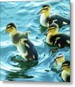 Ducklings Digital Water Color Metal Print