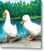 Ducks By The Pond Metal Print