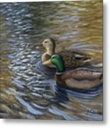Ducks In The Pond Metal Print