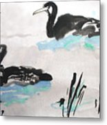 Ducks In The Willows Metal Print