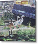 Ducks On Dockside Metal Print