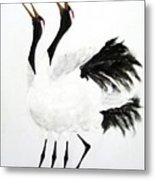 Duet Of The Cranes Metal Print